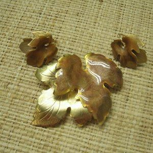 Vintage Gold & Enamel Leaves Pin & Earring Set